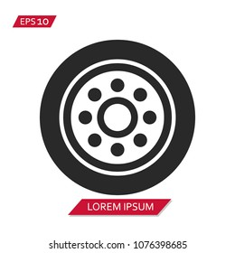 Hubcap Tire And Wheel vector icon