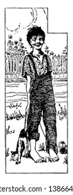 Huckleberry Finn, this scene shows a barefoot boy walking and holding tail of cat in one hand, small plants and compound in background, vintage line drawing or engraving illustration