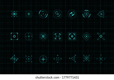 HUD callout target design elements. Set of callout futuristic pointer. Design elements for FUI, control panel and user men. Editable stroke. Good for animation. Vector