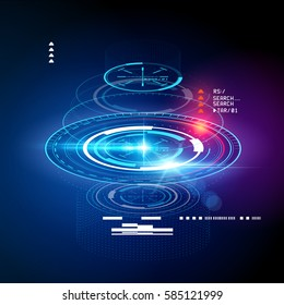 HUD display cross section. Futuristic digital interface elements. Vector illustration