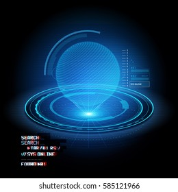 A HUD display projecting a globe Hologram. Future technology vector illustration.