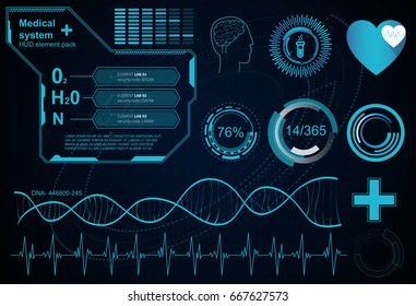 Hud element ui medical examination. Display a set of virtual interface elements. Health technology vector background. Research of human health.