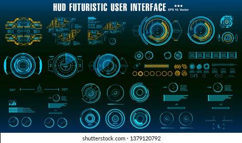 HUD elements mega set pack. Dashboard display virtual reality technology screen. Futuristic user interface.