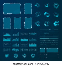 HUD elements set. Graphic abstract futuristic hud pannels. Vector