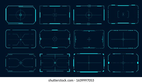 HUD frame. Futuristic game target borders, sci-fi empty banners for text, menu technology interface. Vector lock target technology ui screens set