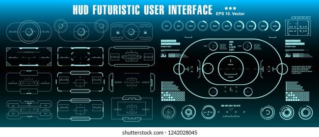 HUD futuristic blue user interface, dashboard display virtual reality technology screen