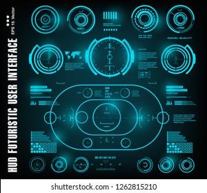 HUD futuristic blue user interface, dashboard display virtual reality technology screen, target