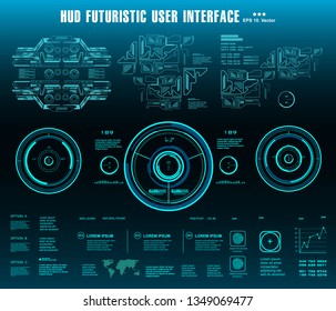 HUD futuristic blue user interface, target. Dashboard display virtual reality technology screen