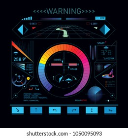 HUD futuristic display showing data parameters, glowing dashboard interface on black screen. Vector illustration