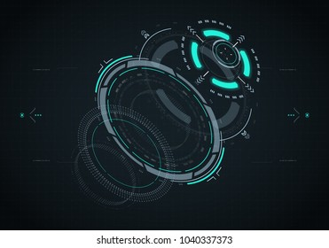 Hud futuristic element. Hi-tech user interface, 3d navigation panel. Abstract virtual technology. Vector illustration.