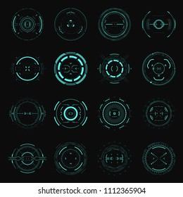 Hud futuristic element. Hi-tech user interface. Abstract virtual target. Vector illustration.