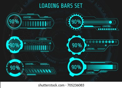HUD Futuristic Element Loading Bars Set Vector Background. Abstract Big Pack User Interface Progress Monitor Illustration.
