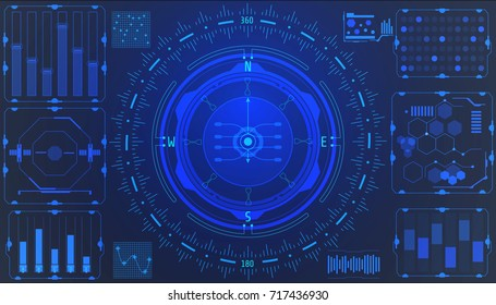 HUD Futuristic Element User Interface Navigation Compass System Concept Vector Background