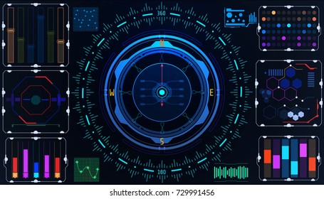 HUD Futuristic Element User Interface Virtual Navigation Compass System Concept Vector Background