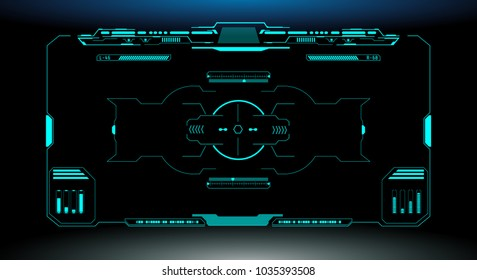 HUD Futuristic Elements Automatic Target Scan User Screen Interface Vector. Green Virtual Abstract Scifi Crosshair Game Control Monitor Panel .