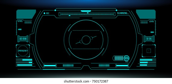 HUD Futuristic Elements Automatic Target Scan User Screen Interface Vector. Green Abstract Scifi Control Monitor Panel Record illustration