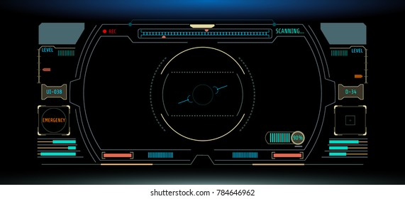 HUD Futuristic Elements Automatic Target Scan User Screen Interface Vector. Multi Color Abstract Scifi Control Monitor Panel Record illustration