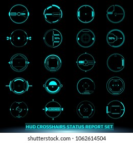 HUD Futuristic Elements Scanning Crosshairs Interface Control Panel Abstract Illustration. Hi Tech Scifi Green Mission Target Monitor Display Vector.