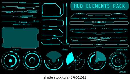 HUD Futuristic Elements Set By Communication And Loading Bars Screen Circles Frames Include For Game User Interface Vector Background