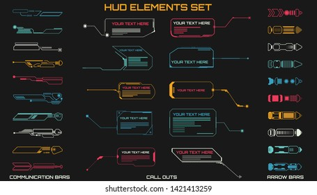 HUD Futuristic Elements Set With Call Outs Communication And Arrow Bars Include Vector. Virtual Hi Scifi Technology Gadget Interface For Game App UI Illustration.