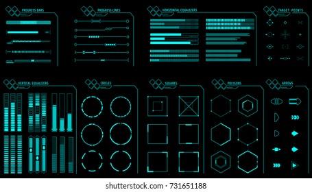 HUD Futuristic Gadget User Interface Elements Set Vector