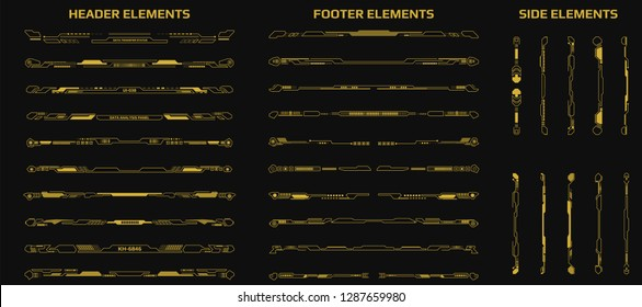 HUD Futuristic Header Footer And Side Elements Set For UI Game Inforgraphic Frame Vector. Gold Abstract Future Cyber Gadget Bar Shape Display Design Illustration.
