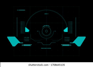 HUD Futuristic Interface Screen Design Element. UI Technology Virtual Reality View Display Object Vector.