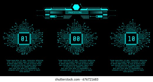 HUD Futuristic Microprocessor Infographic Vector Background. Virtual Graphic CPU With Circuit Board And Processing Monitor Control Panel.