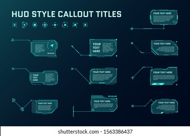 HUD futuristic style callout titles. Information call arrow box bars and modern digital info frame layout templates. Interface UI and GUI element set. Vector illustration