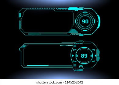 HUD Futuristic Technology Interface Screen Elements Panel Vector. Abstract Virtual Cyber Control Display Pack For Game App UI Illustration