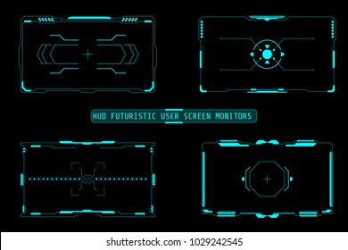 HUD Futuristic User Screen Basic Elements Set. Abstract Virtual Target Monitor Control Panel Layout Texture Concept Design.