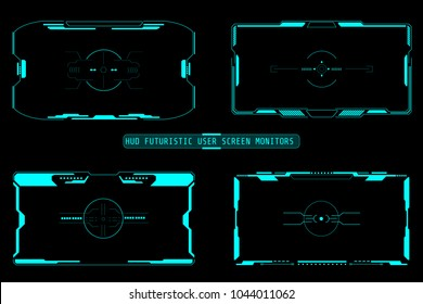 HUD Futuristic User Screen Basic Elements Set. Abstract Virtual Game Target Monitor Control Panel Layout Texture Concept Design.