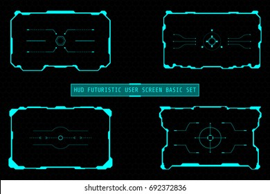 HUD Futuristic User Screen Basic Elements Set. Abstract Virtual Control Panel Layout Texture On Geometric Hexagon Pattern Concept Design Illustration.