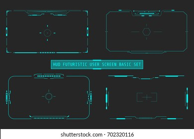 HUD Futuristic User Screen Basic Elements Set. Abstract Virtual Control Panel Layout Texture Concept  Design.