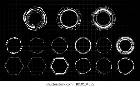 HUD futuristic white element. Set of Circle Abstract Digital Technology UI Futuristic. Abstract circle geometric shape. Design element. Explosion background. Flat design. Vector illustration