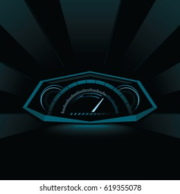HUD glowing interface on dark background. Holographic dashboard design for vehicles.  Vector illustration