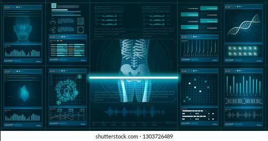 HUD GUI element ui medical examination. Display set of virtual interface elements. Modern medical examination HUD style