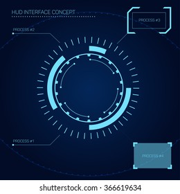 HUD (head-up display) interface concept in futuristic style
