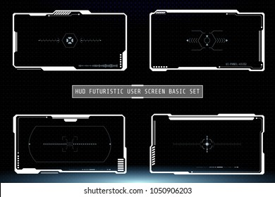 HUD Hi Tech Futuristic White Elements User Screen Game Interface Vector. Abstract Infographic Communication Design Concept Monitor Illustration.