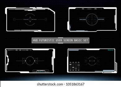 HUD Hi Tech Futuristic White Elements User Screen Interface Vector. Abstract Infographic Communication Design Concept Monitor Illustration.