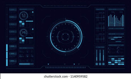HUD. Hi-tech futuristic display. Tech and science, analysis theme. Digital user interface. Infographic elements: graph, waves, arrow, bar regulator, circle, percent.