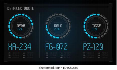 HUD. Hi-tech futuristic display. Tech and science, analysis theme. Digital user interface. Infographic elements: graph, waves, arrow, bar regulator, circle, percent.