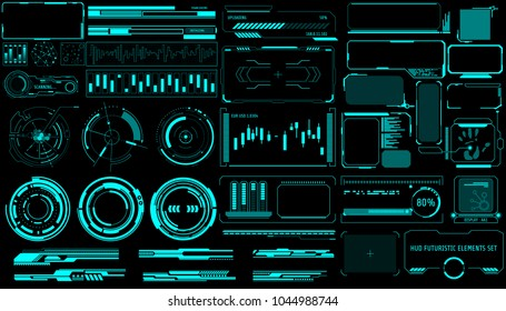 HUD Hologram Futuristic Elements Set Vector. Green Abstract Virtual Graphic For User Interface Control Panel Illustration.
