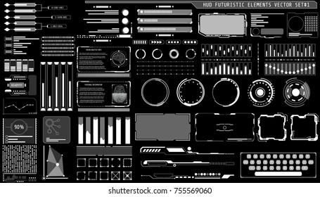 HUD Hologram Futuristic Elements Set Vector. White Abstract Virtual Graphic For User Interface Control Panel Illustration.
