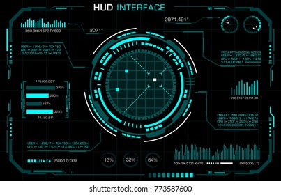 Hud interface. Futuristic panel. Vector art.