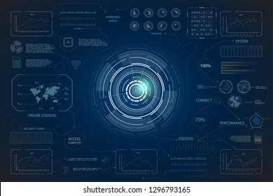 hud interface or technology graphic display on blue background vector illustration
