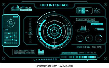 Hud interface template. Black background, head up display futuristic.