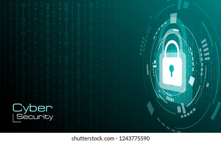HUD padlock on binary code background. Information protection. Cyber security concept. Vector illustration.