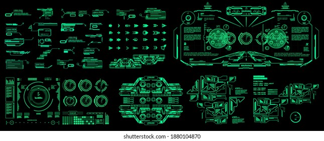HUD set cyber elements pack. Futuristic virtual graphic touch user interface. Dashboard display virtual reality technology screen. Vector elements pack