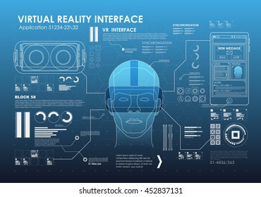 HUD style icon elements. Head-up display elements for the web and app. Futuristic user interface. Virtual graphic.